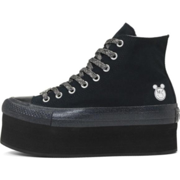 dfd071558579 Converse x Miley Cyrus Platform Shoes Size 8 Black NWT